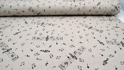Notenstoff Half Panama Stoff mit Noten Musikstoff