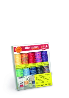Gütermann Creativ Nähgarn Set Deco Stitch 70,  Col 3, 10 Farben Multicolour