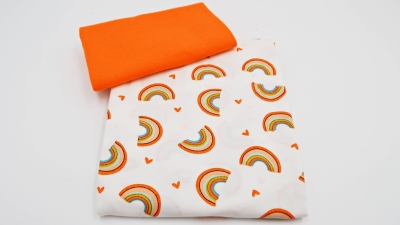 Babybüx Rainbow Orange, DIY-Nähset Baby Pumphose mit Bündchen