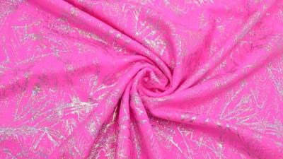 Bodystoff Neon Pink Silber marmoriert Badeanzugsstoff Stretch