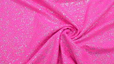 Bodystoff Neon Pink Silber gesprenkelt Badeanzugsstoff Stretch
