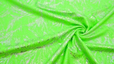 Bodystoff Neongrün Silber marmoriert  Badeanzugsstoff Stretch