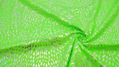 Bodystoff Neongrün Silber Tropfen  Badeanzugsstoff Stretch