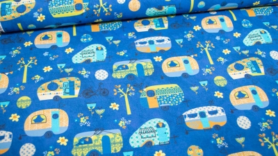 Wohnwagen Caravan Baumwolle blau