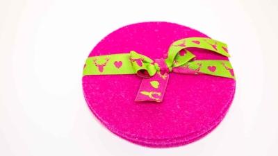 Mini Filzset in Pink 6 Stück Schurwollfilz Filzuntersetzer