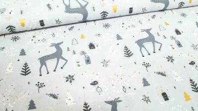 Baumwolle grau Reh Weihnachten Gold