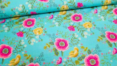 Baumwolle Blumen türkis Harriet