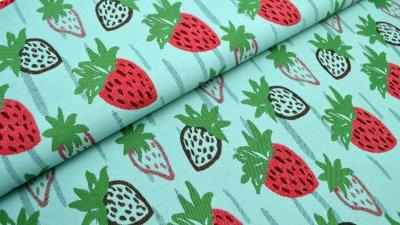 Erdbeere Jacquard Strawberry beidseitig Stoff mit Erdbeeren Erdbeerstoff