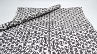 Beschichtete Baumwolle Kristallblume in schwarz-weiß, Rolls, acrylversiegelt