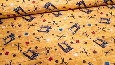 Vintage Nähmaschine Nähen Nähaccessoires Baumwolle ocker