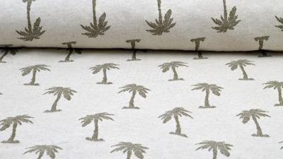 Palmen Jacquard Jersey von Little Darling in Natur mit Palmen