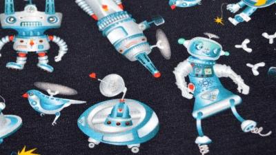 French Terry Robot Dance tanzende Roboter Poppy Design GOTS cert.