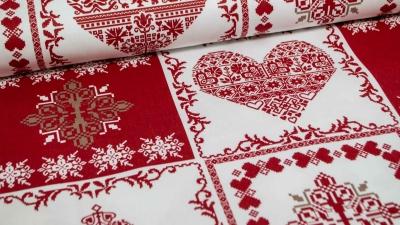 Weihnachtsstoff Skandinavisch Herz Tannenbaum Baumwolle