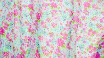 Voile türkis-pink Blumen Chiffon