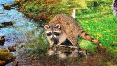 Waldidylle Dekostoff  mit Waldtieren, Half-Panama mit Tieren