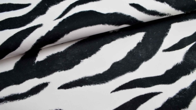 Zebra Fellimitat schwarz - weiß Polsterstoff Zebrastoff Velourstoff im Zebra Design