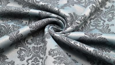 Jacquard mit Ornamenten in Blau-Grau, Dekostoff Rankenstoff