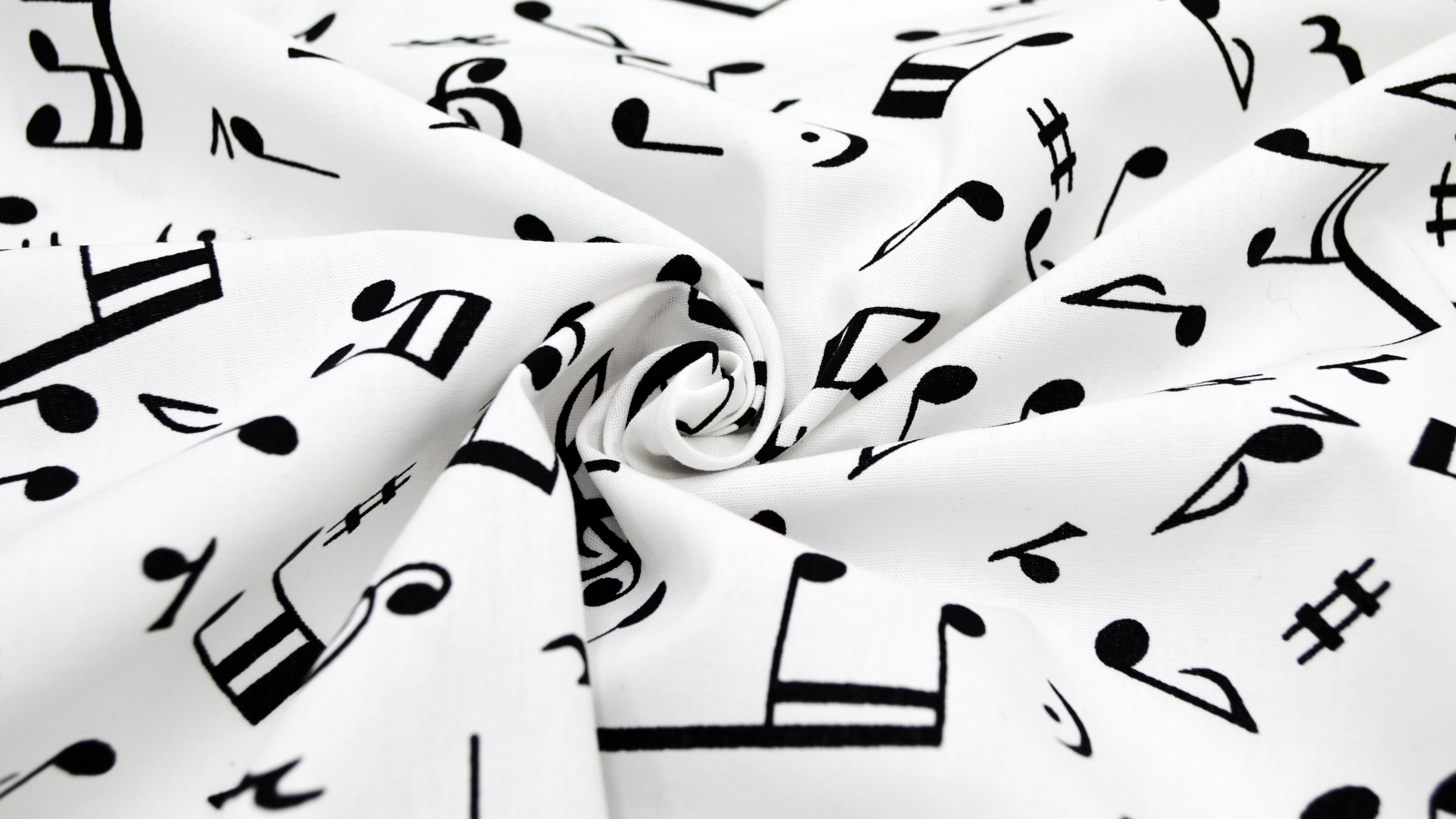 GP 8.63 €//qm Weißer Baumwollstoff mit Noten Musikstoff Notenstoff Stoff mit Note